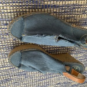 New in box. Toni  Pons blue denim wedge sandals 9
